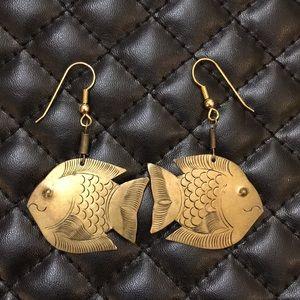 Vintage Boho Gypsy Brass Fish Dangle Earrings